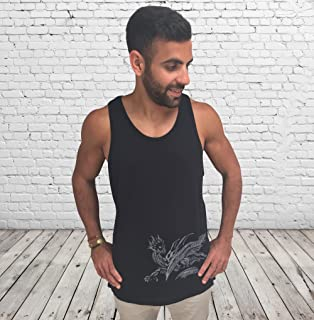 Men's Black Tank Top Sleeveless Vest, Dragon Printed, Training Sports Loose Fit Everyday Wear for Men