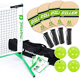 Pickle-Ball, Inc. Pickleball Diller Tournament Net Set (Set Includes Metal Frame + Net + 4 paddles + 4 balls + Rules Sheet in Carry Bag) || Makes A Great