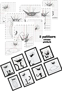Hand embroidery design books cross stitch pattern Cat silhouette Designs black and white cats Subversive x stitch Hand embroidery cross-stitching crafts hobby Mini cat art Monochrome silhouette cat