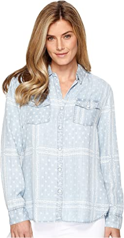 Printed Lace Lyocell Denim Shirt