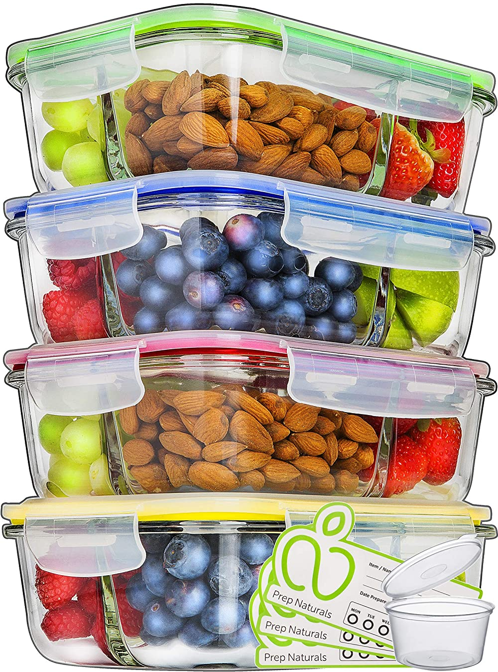 Glass Meal Prep Containers 3 Compartment - Food Containers Meal Prep Food Prep Containers Lunch Containers Glass Containers with lids Freezer Containers Bento Box Containers Bento