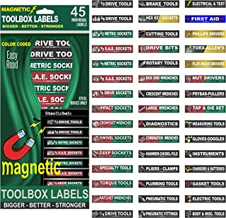 """Ultimate Magnetic Tool Box Organizer Labels (Green edition) organize boxes, drawers & cabinets """"Quick & Easy"""", fits all brands of 'Steel' tool chest Craftsman, Snap-on, Mac, Matco & Cornwell …"""