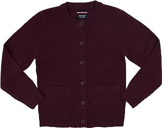 School Uniform Girls Anti-Pill Crew Neck Cardigan Sweater, Burgundy, 2T