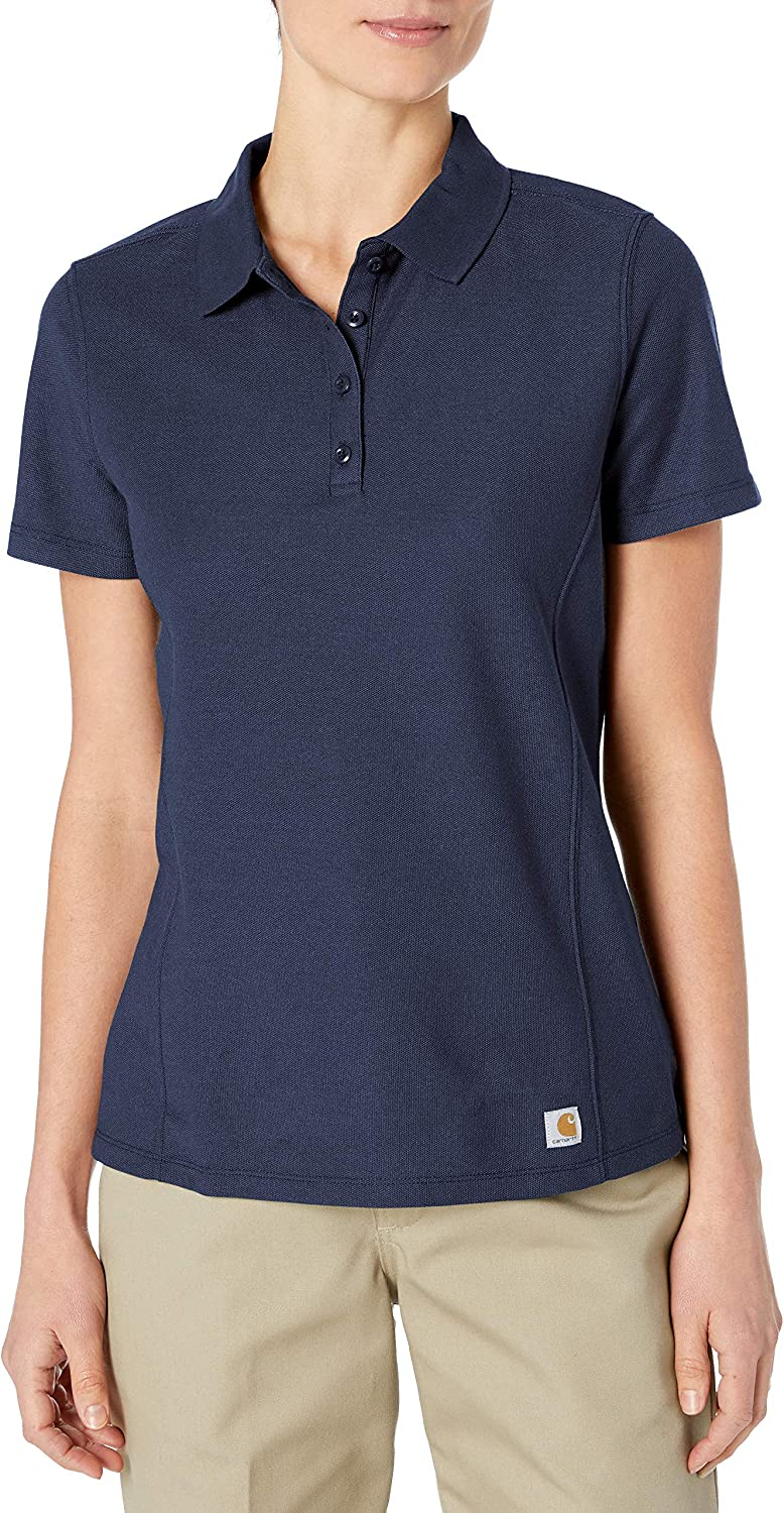 Carhartt Women S X Large Navy Polyester Cotton Contractor S Work Polo