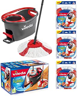 VILEDA TURBO EasyWring & Clean Ensemble complet de serpillère avec seau et essoreuse Plus 3 têtes de rechange