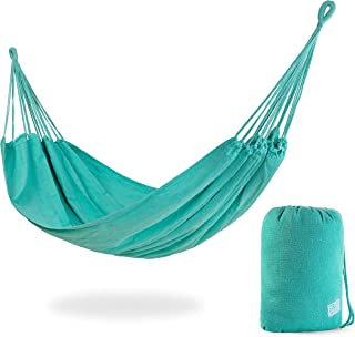 Stratr Brazilian Hammock - Large Hammock for Porch, Backyard, Indoor and Outdoors - Extremely Comfortable Woven Cotton Fabric (Turquoise)