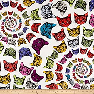 Alexander Henry Cat-finity Spiral Cats Natural/Multi Fabric By The Yard