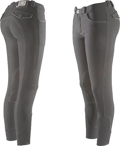 Equi-Theme Equit'm 979440144 Verona Culotte d'équitation pour Femme avec surpiqures et passepoils en Couleuris contrastés - Taille Unique - gris Blanc