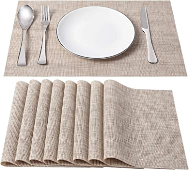 SD SENDAY Placemats, Set of 8 Heat-Resistant Stain Resistant Non-Slip Placemats for Kitchen Table, Washable Durable PVC Table