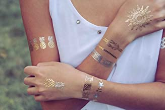 Sun Goddess Collection -Beach Themed Metallic Temporary Tattoos by TribeTats - Gold & Silver Henna Inspired Body Art - Nautical Tattoos Include Sun, Pineapples, Anchor, Turtle (Music Festival)