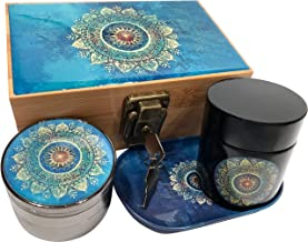 Blue Mandala Stash Box Combo - 4 Part Titanium Grinder and Black UV Stash Jar and Rolling Tray - Locking Stash Box (Space)