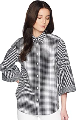 LAUREN Ralph Lauren Petite Gingham Bell-Sleeve Shirt