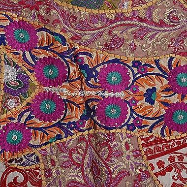 DK Homewares Indian Ethnic Bohemian Floor Cushion Adult Beige 22 Inch Patchwork Meditation Ottoman Stool Home Decor Embroider
