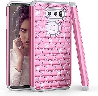 LG V30 Case, LG V30 Plus / V30+ 2017 Cute Case, TILL(TM) Studded Rhinestone Crystal Bling Diamond Sparkly Luxury Shock Absorbing Hybrid Defender Rugged Slim Glitter Case Cover for Girls Women [Pink]
