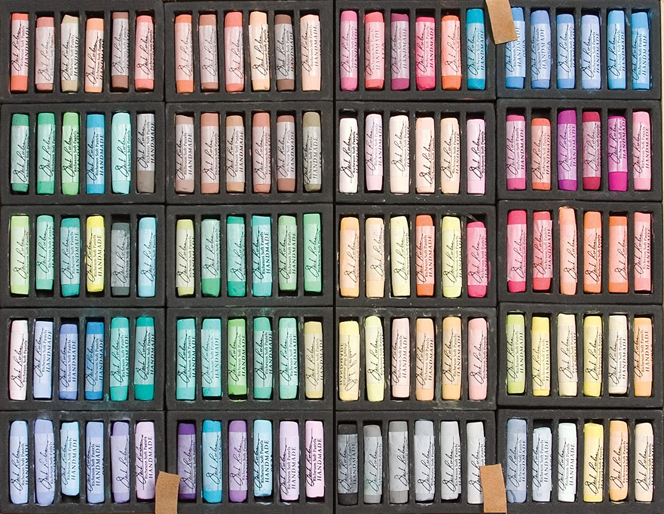 Jack Richeson Handmade Soft Pastels in a Wooden Box, 120 Assorted Colors