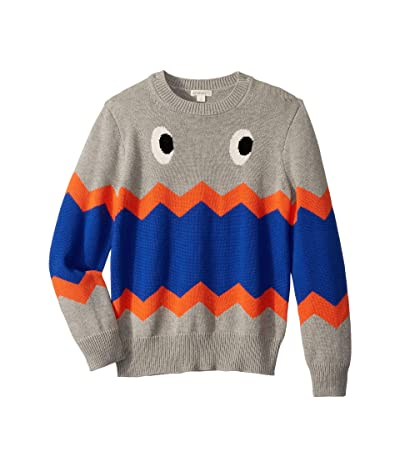 crewcuts by J.Crew Max the Monster Cotton Crewneck Sweater (Toddler/Little Kids/Big Kids) (Grey/Navy Multi) Boy