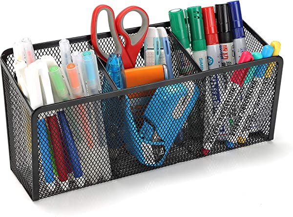 StorageMax Magnetic Pencil Holder And Organizer With 3 Large Compartments Extra Strong Magnets Ideal Storage Basket For Locker Refrigerator And Whiteboard