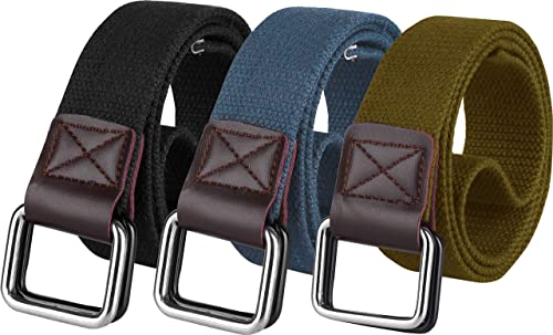ZORO Cotton D ring buckle belt for men | Leather free, light weight, (PACK OF 3) |