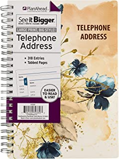 PlanAhead See It Bigger Telephone/Address Book; Large Print with Tabbed Pages (Blue Peony)