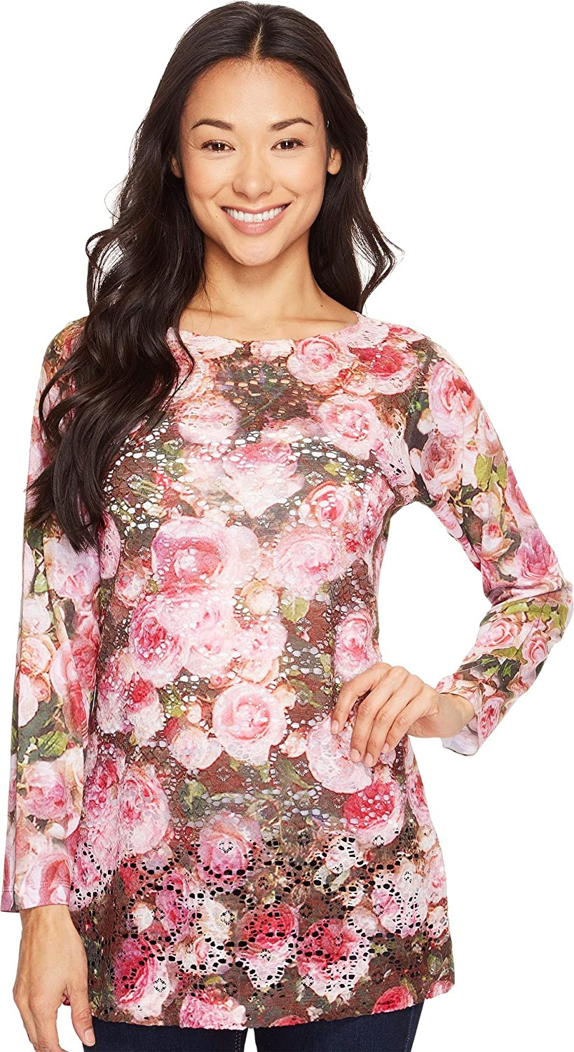 Nally & Millie Womens Printed Lace Floral Tunic