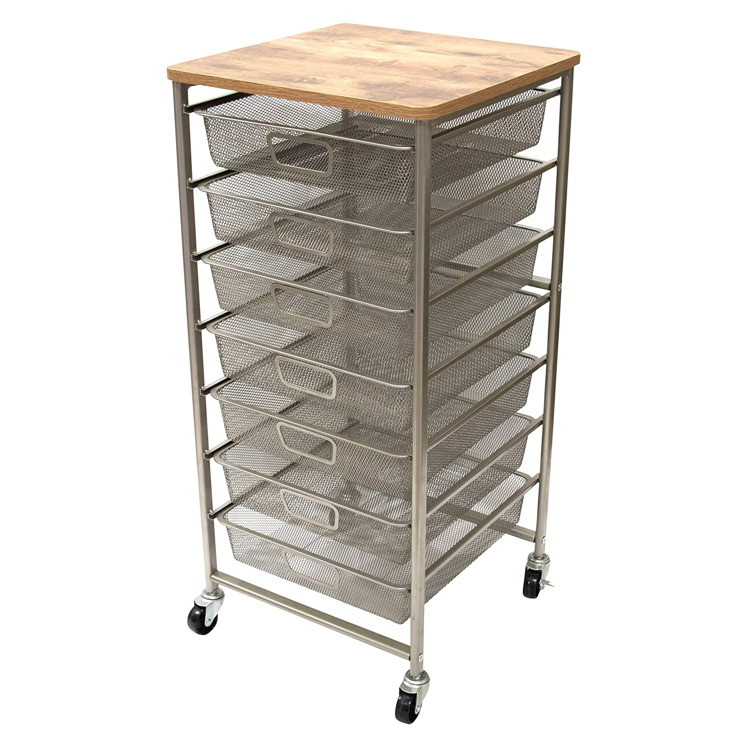 Storage Studios CH93520A Signature Design Industrial Storage Cart, Silver, Tan