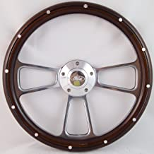 Compatible with 1967 to 1974 Bronco Real Wood & Chrome Steering Wheel Full Install Kit