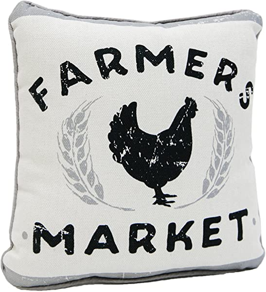 Farmers Market Chicken Grey White 9 X 9 Inch Canvas Piped Decorative Throw Pillow