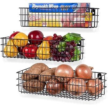 Wall35 Kansas Wall Mounted Metal Wire Baskets for Kitchen Organization and Storage, Varying Sizes Hanging Fruit Basket Set of 3 Black