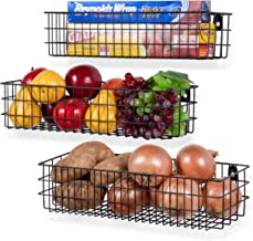 Wall35 Kansas Wall Mounted Kitchen Storage Metal Wire Fruit Basket Varying Sizes,Set of 3, Black