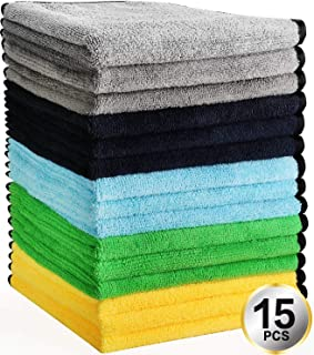 HERKKA Microfiber Cleaning Cloths 15 Pack Double-Side Plush & Super Absorbent Car Cleaning Towels for Cars Detailing and Home Polishing Washing (Black,Grey,Yellow,Green,Blue)