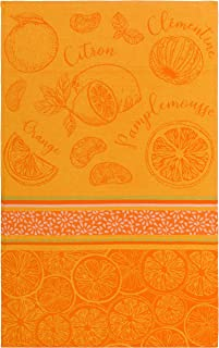 COUCKE French Cotton Jacquard Towel, Les Argrumes (Citrus Fruit), 20-Inches by 30-Inches, Orange and Yellow