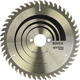 Bosch 2608641186 Optiline Wood Circular Hand Saw Blade, 190mm x 2.0mm x 30mm, 48 Teeth, Silver