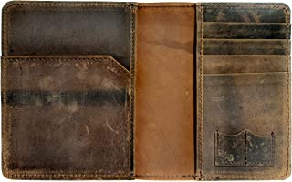Genuine Leather Dual Passport Case With Credit Card, Sim/Memory Card Slot (Brown)