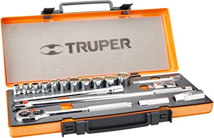 "Truper JD-1/2X19P, Juego de autoclé de 19 piezas std, 1/2"""