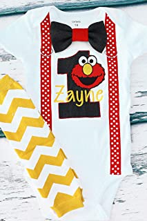 Boy first birthday outfit Boy cake smash outfit- Elmo, Sesame Street, Educational, (embroidered) Parent shirts are available (Leg warmers NOT included)