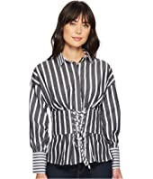 ROMEO & JULIET COUTURE - Corset Detail Striped Shirt