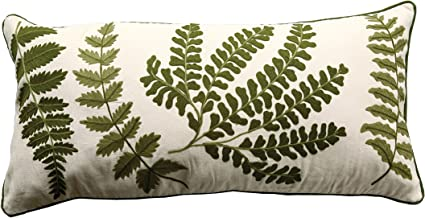 Creative Co-op White Rectangle Cotton Pillow with Embroidered Green Ferns