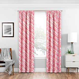"""Eclipse Haley Blackout Window Curtain Panel, 37"""" x 95"""", Coral"""