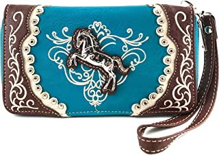 Horse Embroidery Studded Concealed Carry Handbag Purse Matching Wallet
