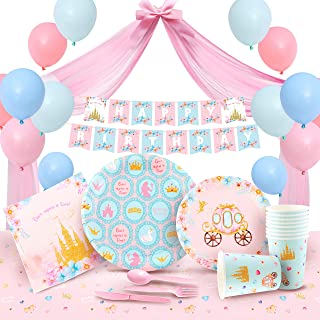 Princess Party Decorations & Birthday Supplies (16 Guests), Set Includes Tulle, Banner, Balloons, Tablecloth, Plates & Tab...