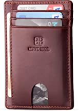 BRAVE BROS - Slim Genuine Leather RFID Blocking Minimalist Front Pocket Wallets & Card Holders for Men & Women