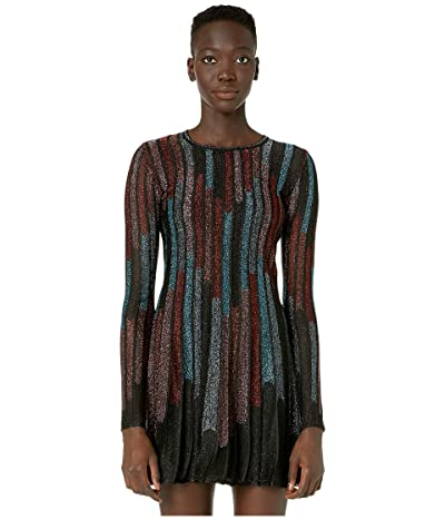 M Missoni Long Sleeve Short Dress in Broken Stripe Lurex (Grey/Black) Women