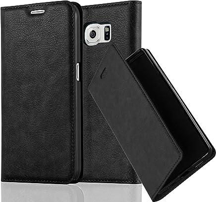 Cadorabo Hülle für Samsung Galaxy S6 - Hülle in Nacht SCHWARZ – Handyhülle mit Magnetverschluss, Standfunktion und Kartenfach - Case Cover Schutzhülle Etui Tasche Book Klapp Style