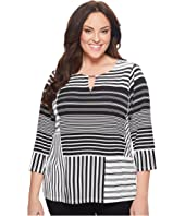 Calvin Klein Plus Plus Size 3/4 Printed Top w/ Bar