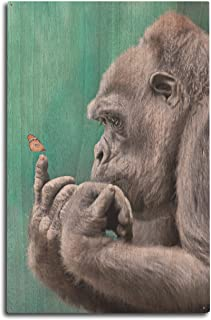 Lantern Press Gorilla Inspecting Butterfly on Finger (10x15 Wood Wall Sign, Wall Decor Ready to Hang)