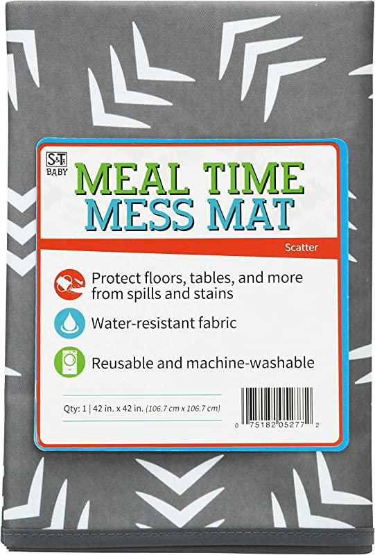 STS Baby 527701 Water Resistant Machine Washable Meal Time Mess Mat 42 Inch X 42 Inch Grey Scatter Print