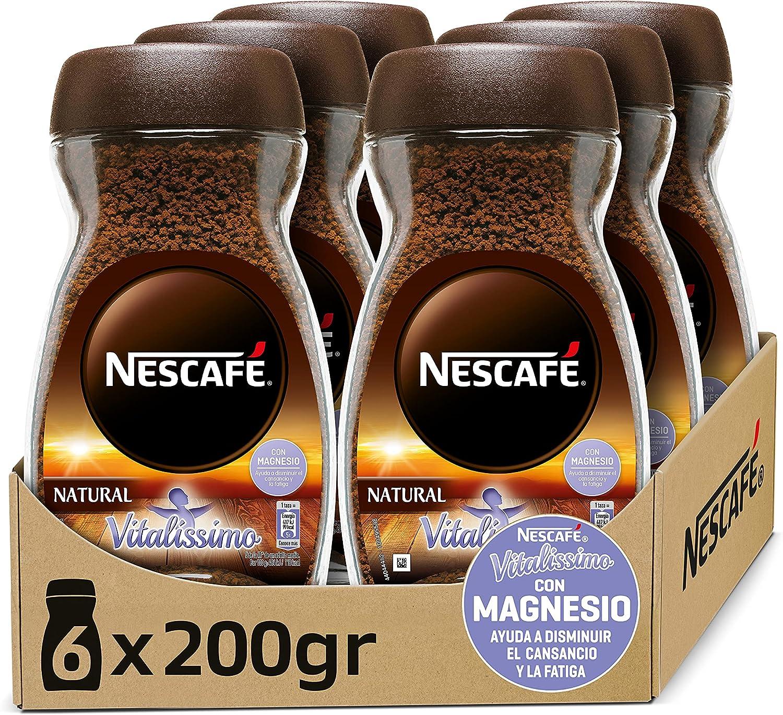 NESCAFÉ VITALISSIMO NATURAL con magnesio, café soluble, frasco de vidrio, Pack de 6 x 200 g