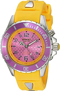 KYBOE! Power Stainless Steel Quartz Watch with Silicone Strap, Yellow, 20 (Model: KY.40-024.15