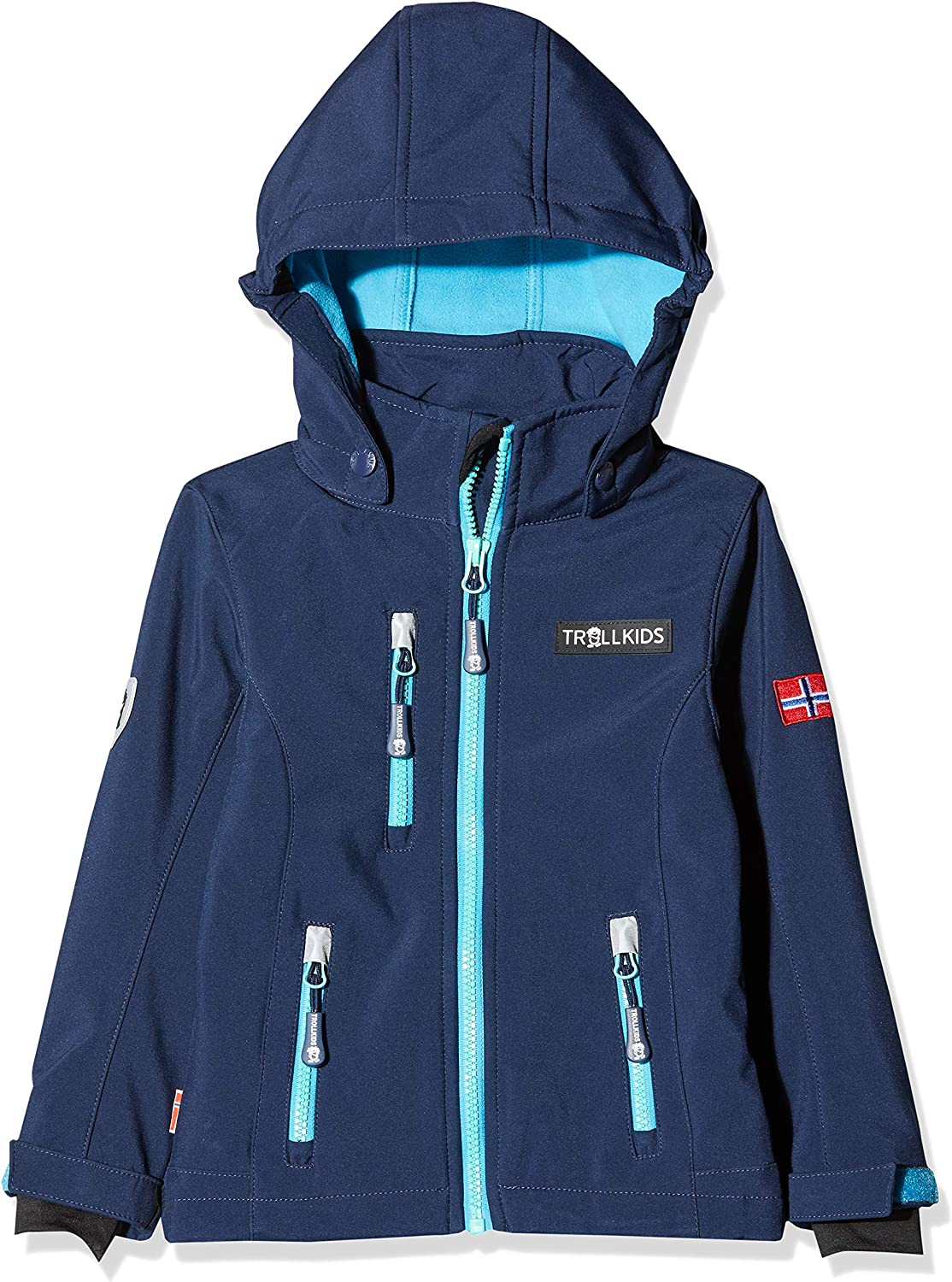 (2-3 (98 EU), navy turquoise mint) - Trollkids Girls' Hooded Long Track Jacket