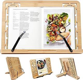 Kurtzy Bambú Atril para Libros - (33.5 x 24cm) Soporte para Libros de Cocina con 5 Alturas Ajustables - Plegable Soporte para Lectura Atril - Soporte Libros para Leer, Notas Musicales, iPad y Tablet